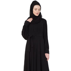 Simple Classic Black full flayered Abaya with belt.