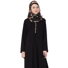 Black Modest and Classic Umbrella Abaya