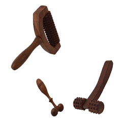 Desi Karigar Wooden Set of 3 Hand Massager Roller Body Stress Acupressure