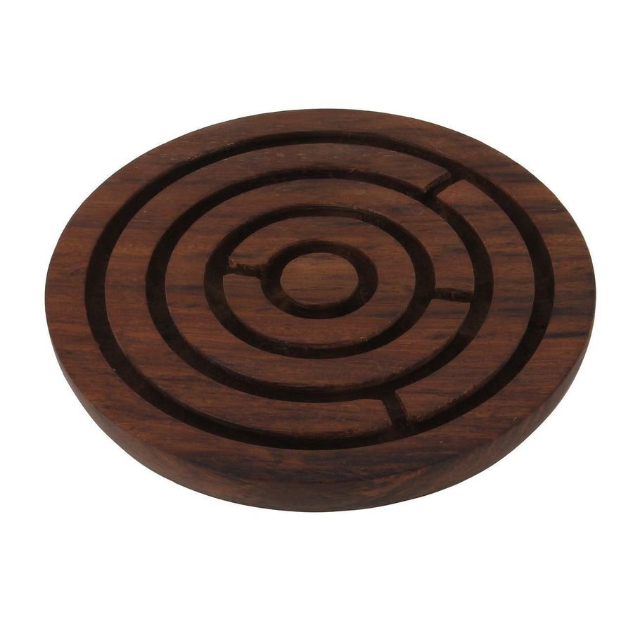 Desi Karigar Handcrafted Wooden Board Game Round Labyrinth (Diameter - 6 Inches)