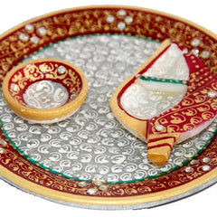 6 Inch Pooja Thali  with Diya