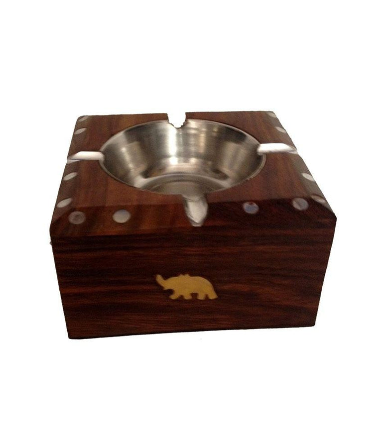 Desi Karigar Wooden Brass Inlay Ashtray + Cig