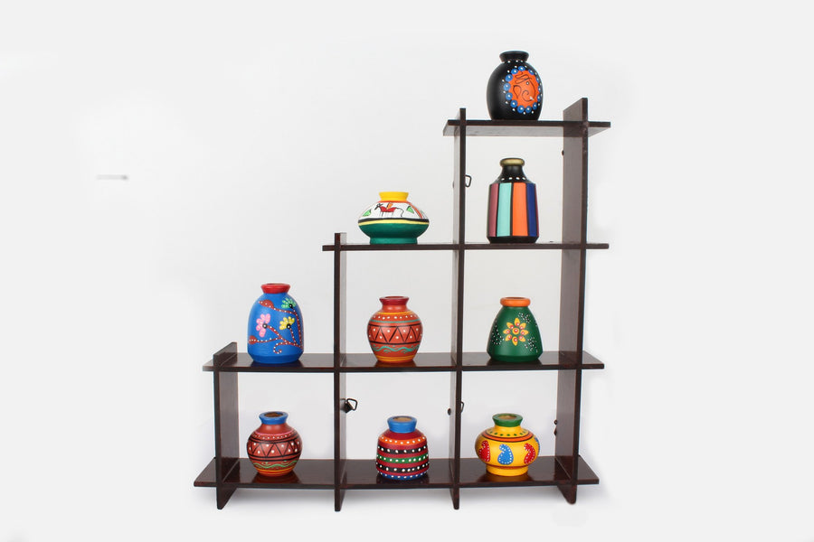 Wooden stand with 9 pots