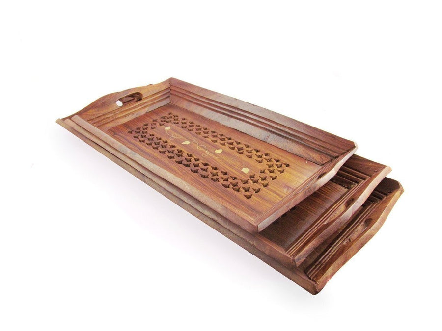 Desi Karigar Fancy set of 3 wooden serving tray set with brass work