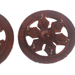 Desi Karigar Wooden Key Holder In Wheel Shape ( Brown, 1 - 6 inch 2 - 4.5 inch 3 - 4 inch )