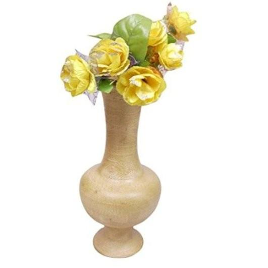 Desi Karigar Beautiful Wooden Antique Hand Carved Flower Vase