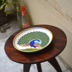 Blue Pottery Dancing Peacock Plate