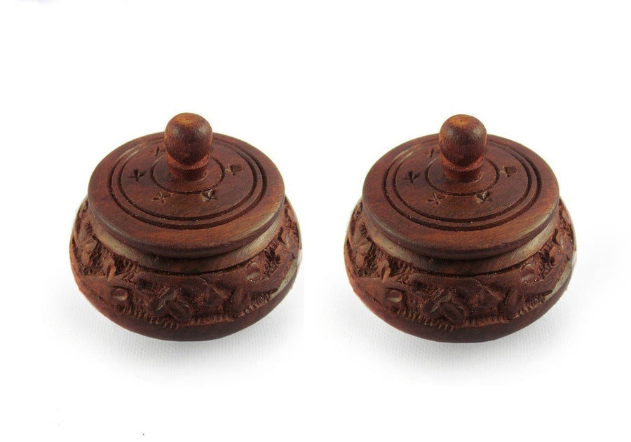 Desi Karigar Small fancy traditional wooden full carved shringaar box set of 2