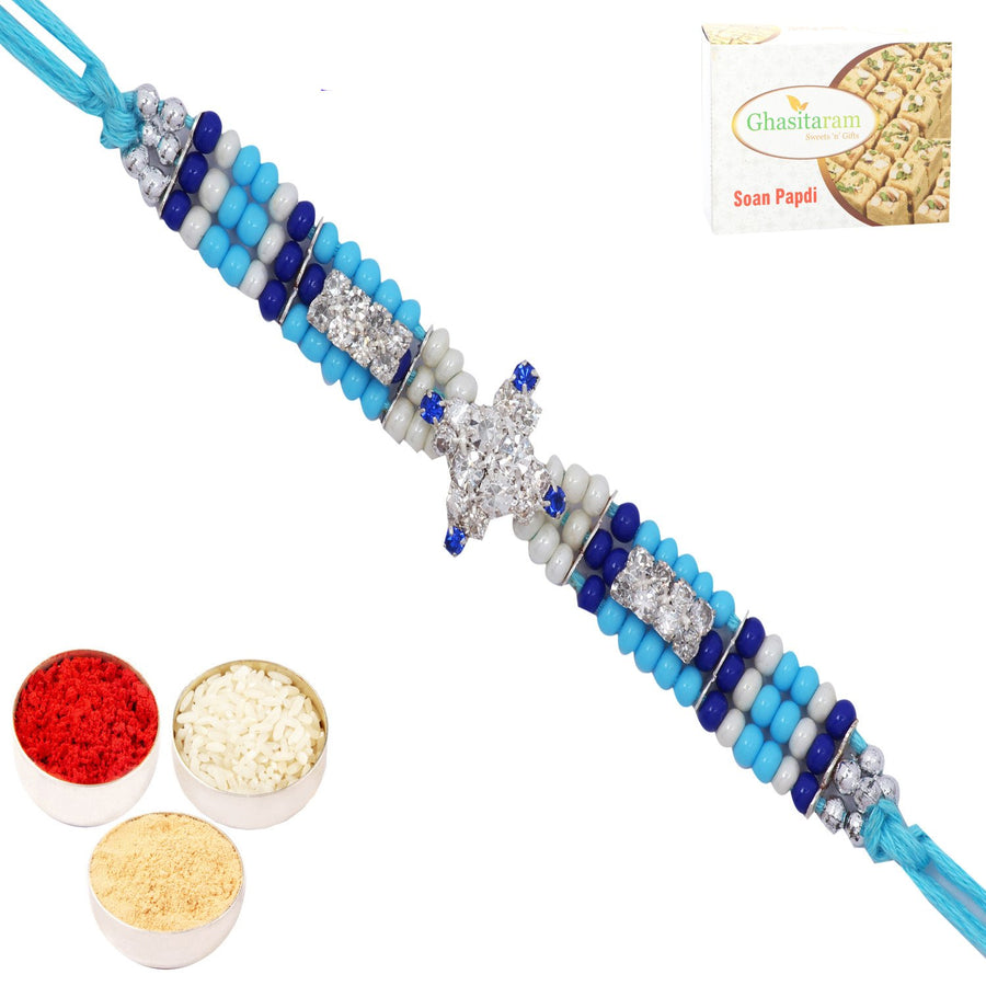 Set of 2 Rakhis with 200 gms of Soan Papdi