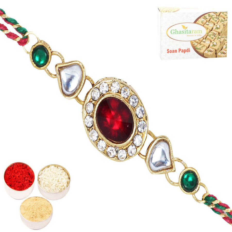 Single Rakhi with 200 gms of Soan Papdi
