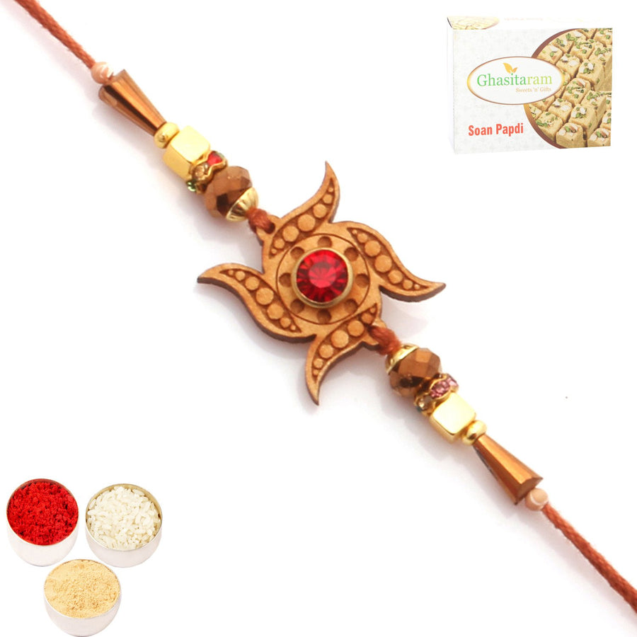 Single Rakhi with 400 gms of Soan Papdi