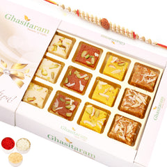 Rakhi Gifts Sweets- Assorted Barfis White Box with Rudraksh Rakhi