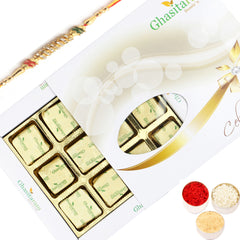 Rakhi Gifts for Brother Rakhi Chocolates-Ghasitarams Chocolates Assorted Chocolates 12 pcs White Box with Diamond Rakhi