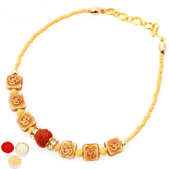Rakhi for Brother Rakhis Online - BB-2104 Om Rudraksh Bracelet Rakhi