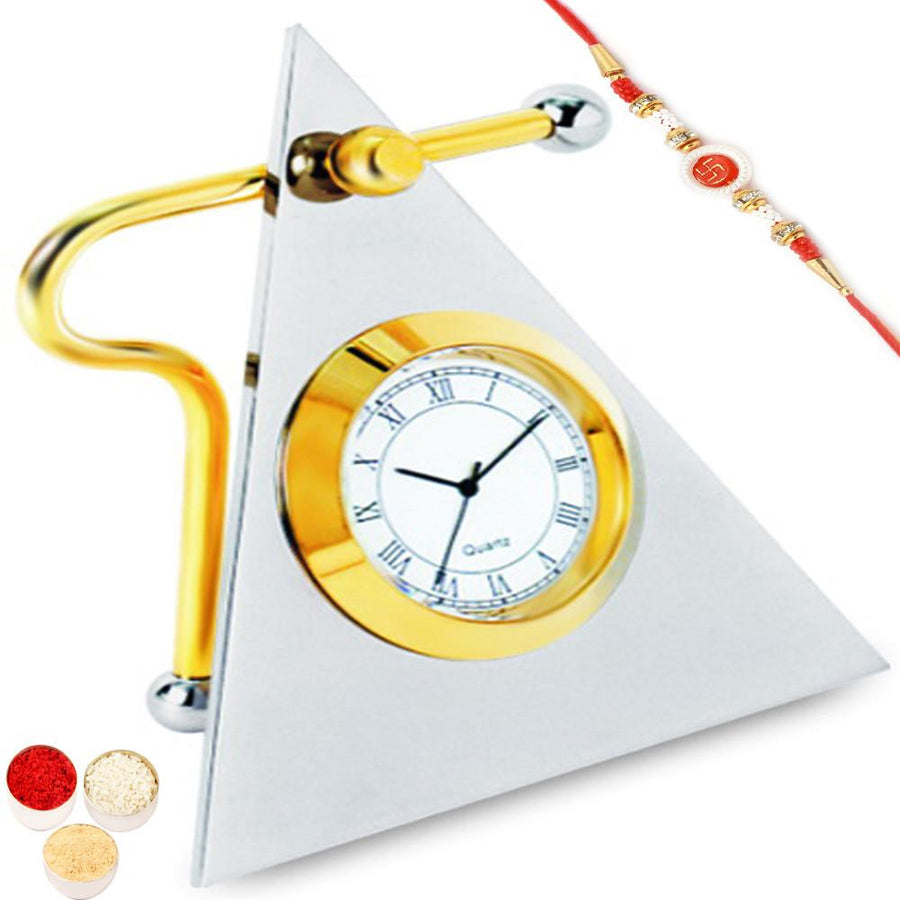 Triangle Clock BTC - 116 with Om Swastik Rakhi
