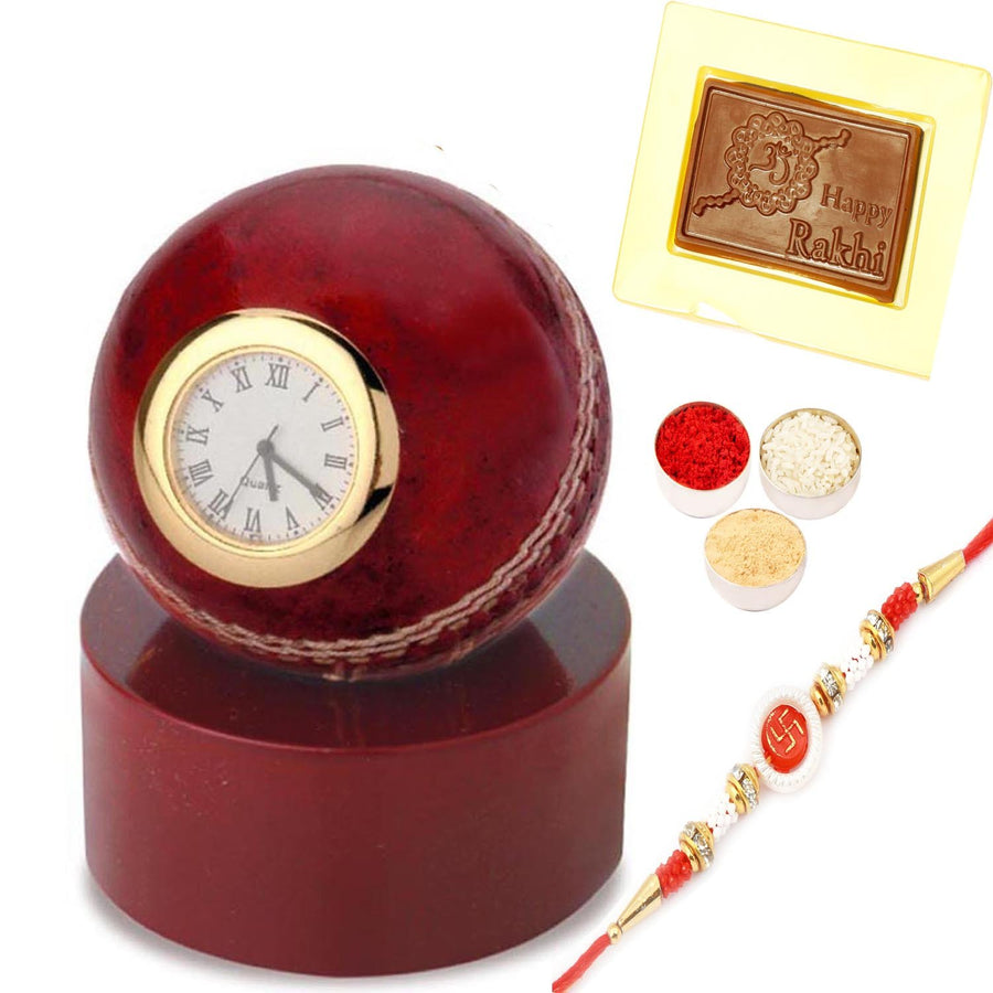 Cricket Ball Clock with Om Swastik Rakhi  and Happy Rakhi Chocolate Box