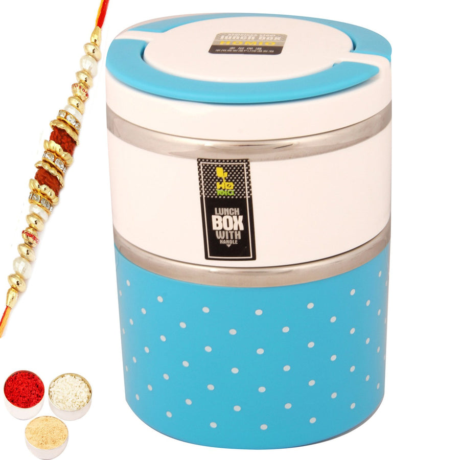 Kids Gifts with Rakhi-Double Tumbler Lunch Box