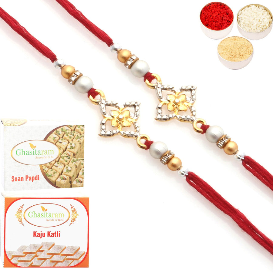 Set of 2 Rakhis with 200 gms of Kaju katli and 200 gms of Soan Papdi Sweets