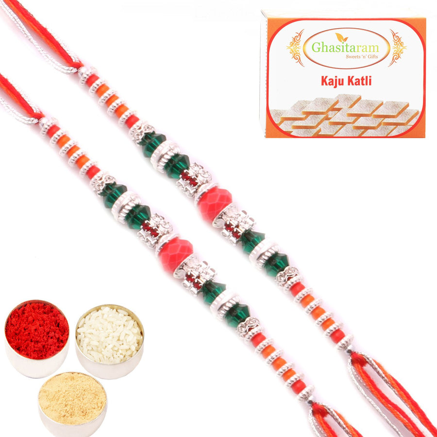 Set of 2 Rakhis with 400 gms of Kaju katli