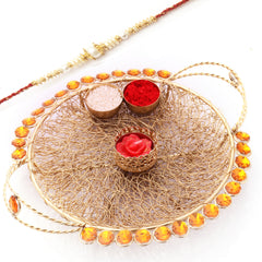 Rakhi Pooja Thalis-Golden Mesh PoojaThali  with Red Pearl  Rakhi