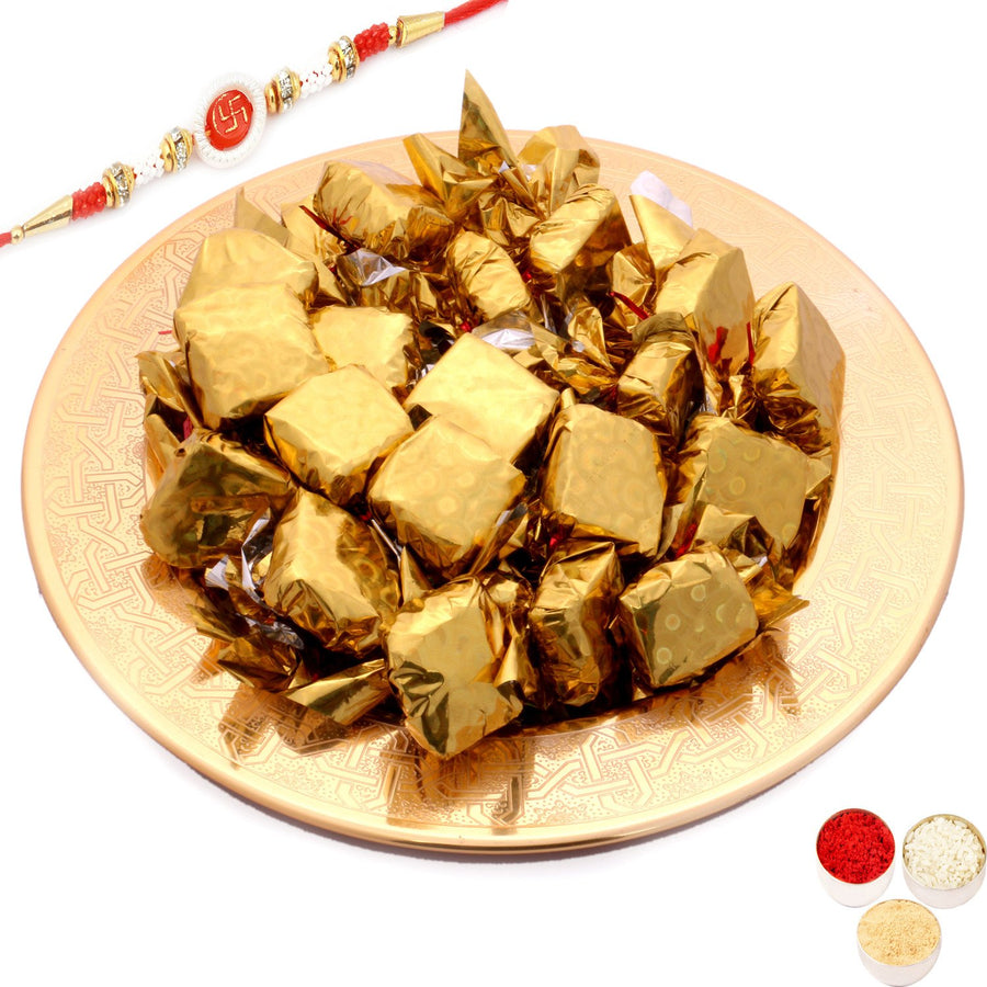 Rakhi Chocolates-Golden Self Design Tray with Roasted Chocolates Om Swastik Rakhi
