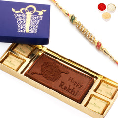 Rakhi Gifts for Brother Rakhi Chocolates- Blue Happy Rakhi Chocolate Box Small with Pearl rakhi