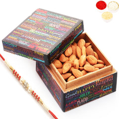 Rakhi Gifts For Brother Rakhi Dryfruits- Ideal Brother Almond Box with Red Pearl Rakhi