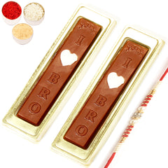 Rakhi Gifts for Brother Rakhi Chocolates-I Love Bro Chocolates  with Red Pearl Rakhi