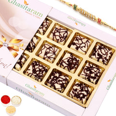 Rakhi Gifts for Brother Rakhi Chocolates-Marble Chocolate Box (12 pcs) with Diamond Rakhi