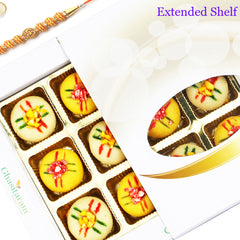 Rakhi Gifts For Brother-Ghasitarams Sweets Assorted Mawa Peda 12 pcs White Box-200gms with Om Beads Rakhi