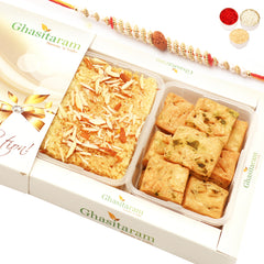 Rakhi Gifts Sweets- Milk Cake and Methi Mathri Hamper with Rudraksh Rakhi