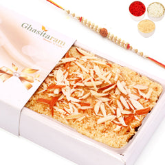Rakhi Gifts Sweets- Delicious Milk Cake with Rudraksh Rakhi