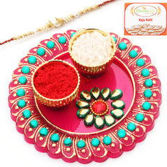 Rakhi Pooja Thalis-Mini Pooja Thali with Red Pearl  Rakhi  with 200 gms Kaju katli