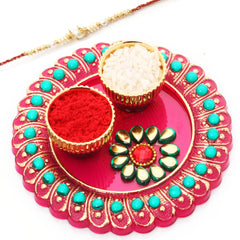 Rakhi Pooja Thalis-Mini Pooja Thali with Red Pearl  Rakhi