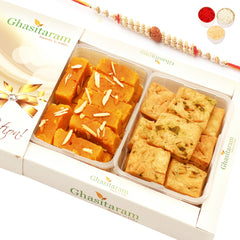Rakhi Gifts Sweets- Mysore Pak and Methi Mathri Hamper with Rudraksh Rakhi