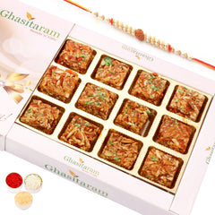 Rakhi Gifts Sweets- Roasted Almond Delight 12 pcs with Rudraksh Rakhi
