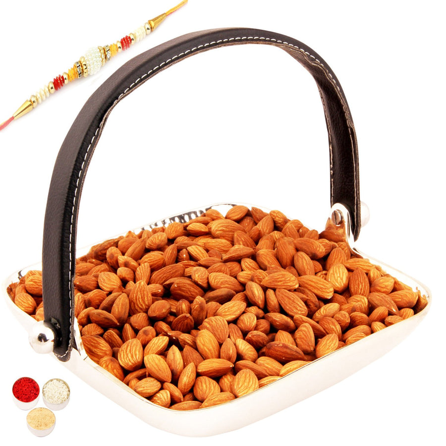 Silver Aluminum Square Tray  Handle with Almonds  with Pearl Rakhi