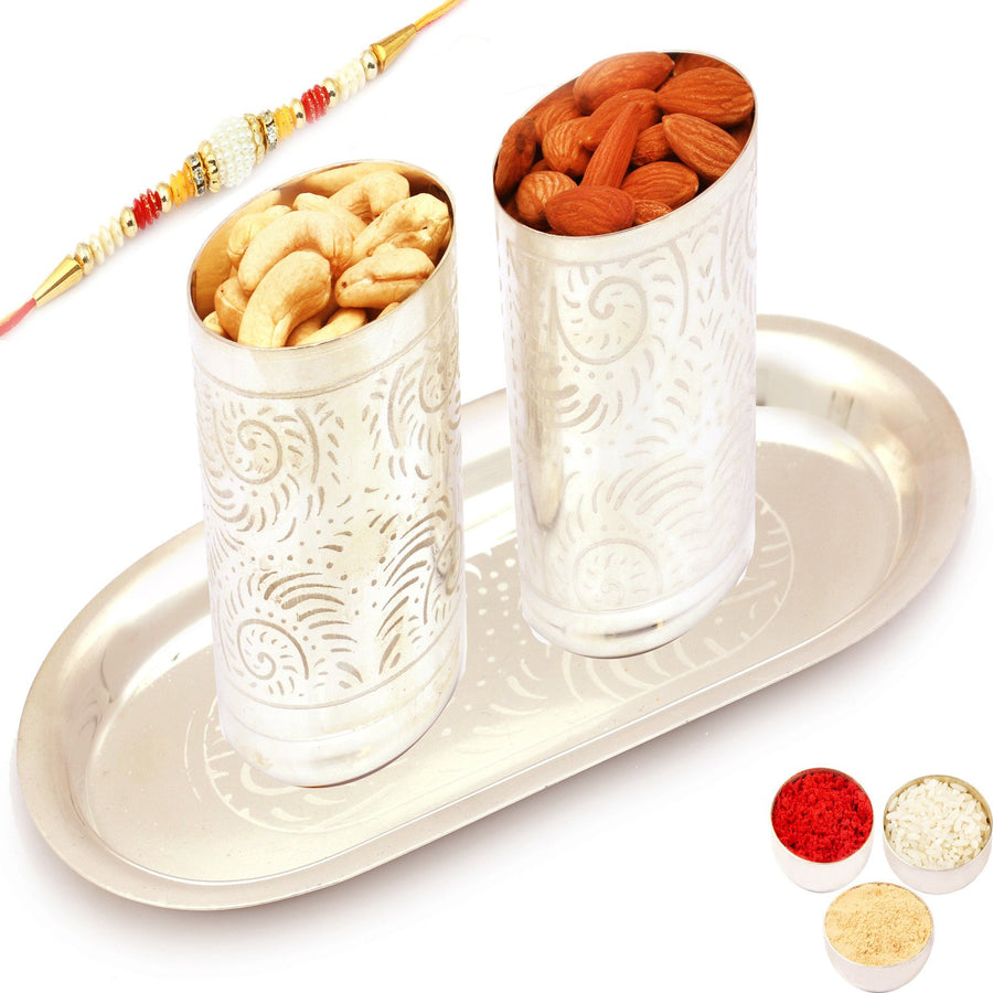 Silver Carved Glasses with with Pearl Rakhi and Dryfruits
