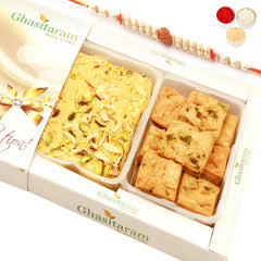 Rakhi Sweets- Soan Papdi and Methi Mathri Hamper with Rudraksh Rakhi