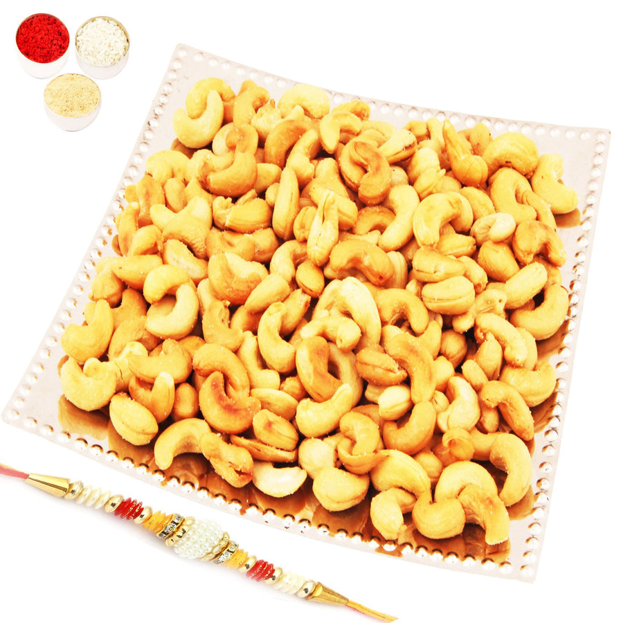 Designer Square Silver Tray with Roasted Cashews  with Pearl Rakhi