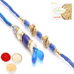Rakhis Online- Siblings Truest Bonding Bhaiya Bhabhi Rakhi with 200 gms of Soan Papdi