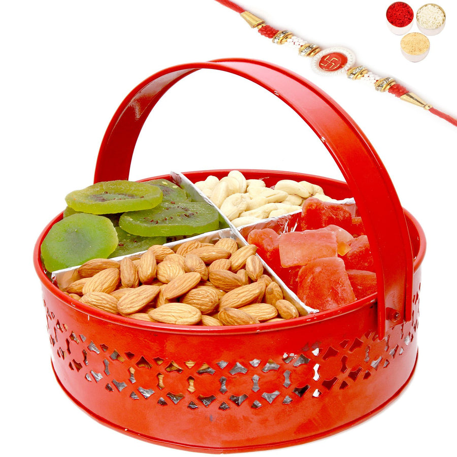 Rakhi Gifts For Brother Rakhi Dryfruits-Big Red Metal Mixed Dryfruit Basket with Om Swastik Rakhi
