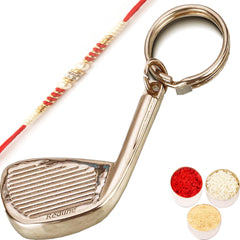 Golf Stick Keychain  BKC - 5131 with Red Pearl Rakhi