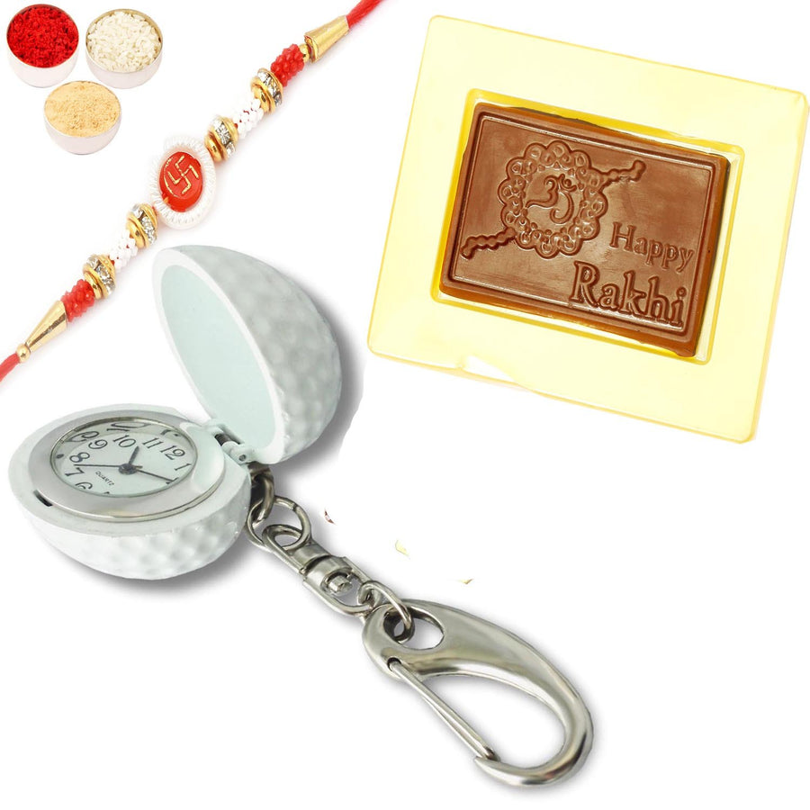 Keychain with Happy Rakhi Chocolate Box