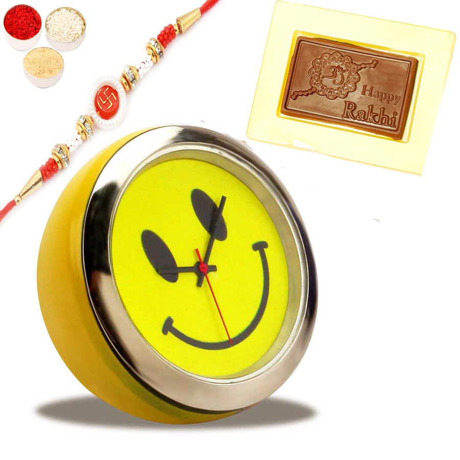 Smiley Clock BTC- 08 with Om Swastik Rakhi and Happy Rakhi Chocolate Box