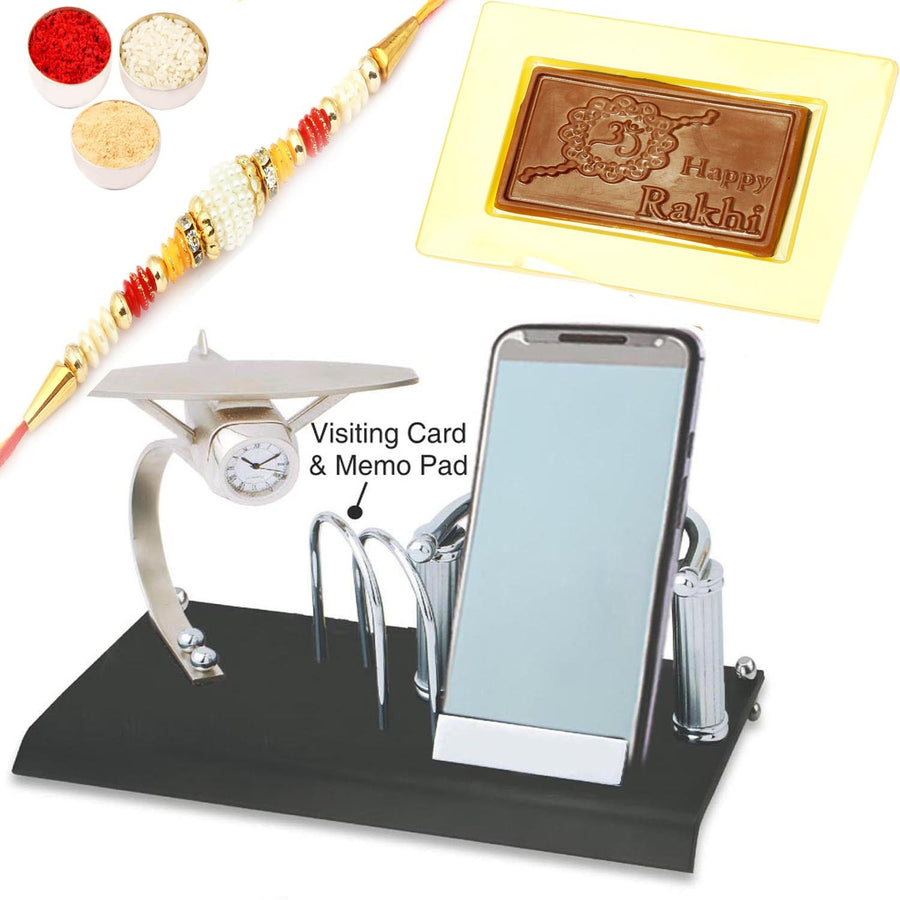 Card Holder, Mobile Stand,Memo Pad and Clock with Pearl Rakhi and Happy Rakhi Chocolate Box