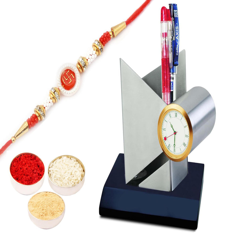 Pen Holder Cum Clock BTC - 444 with Om Swastik Rakhi