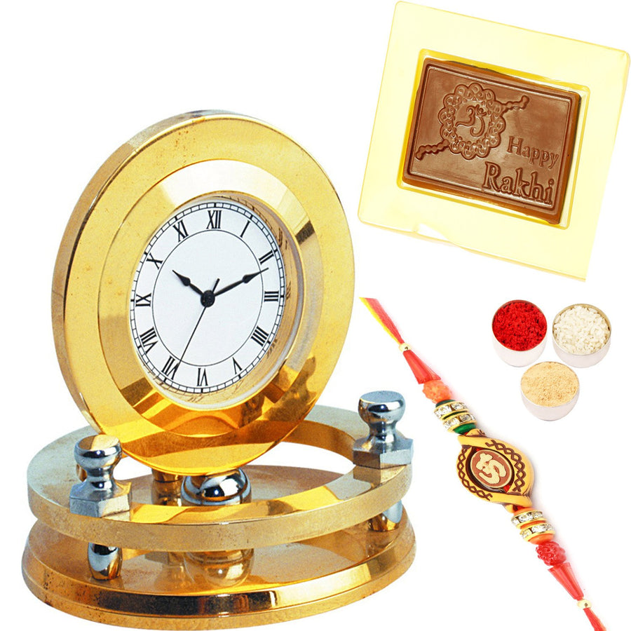 Golden Round BTC - 58  with Om Rakhi  and Happy Rakhi Chocolate Box