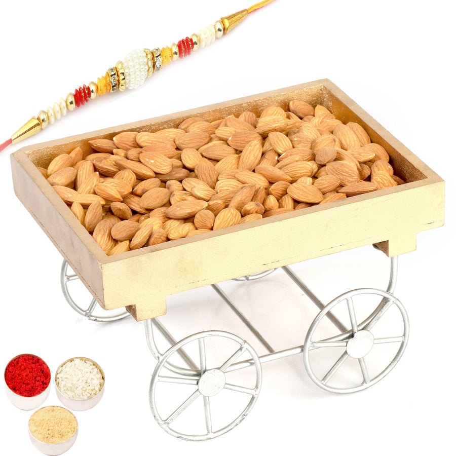 Rakhi Gifts For Brother Rakhi Dryfruits- Cart Almonds Tray with Pearl Rakhi