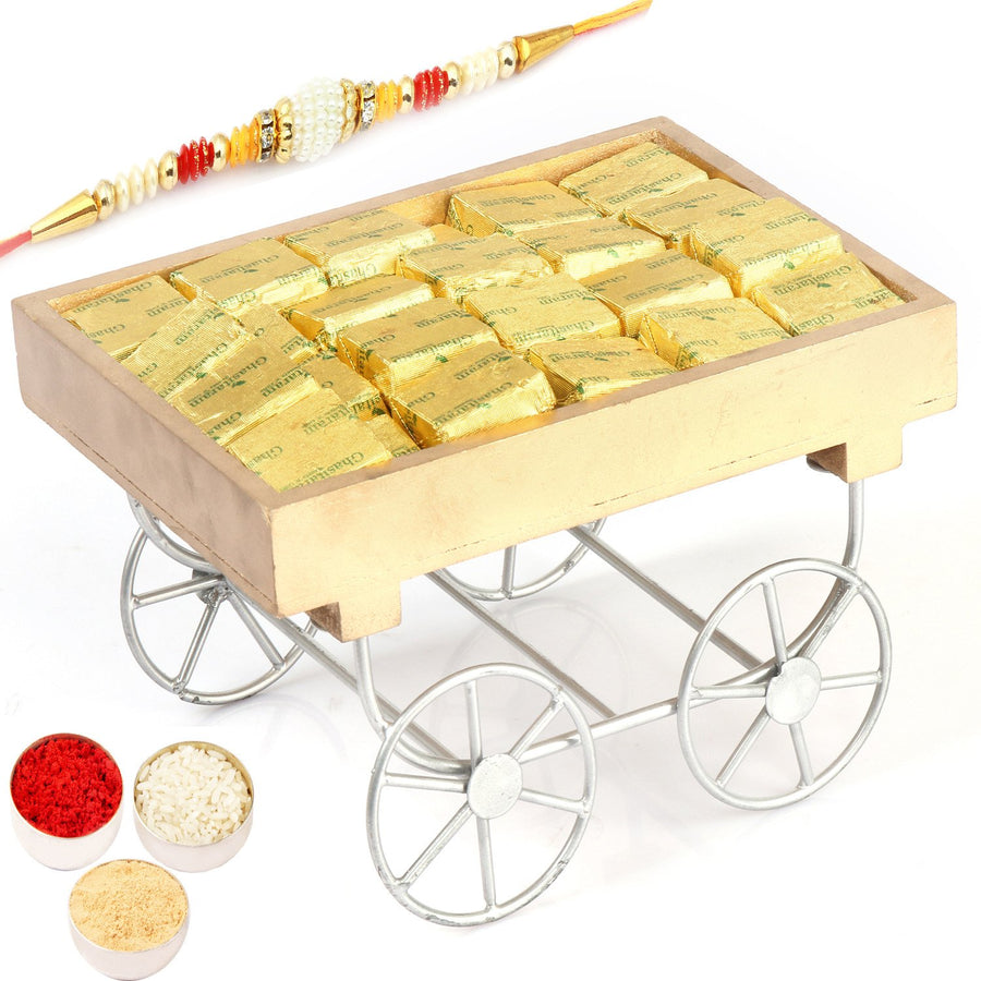 Rakhi Chocolates- Cart Chocolates Tray with Pearl Rakhi